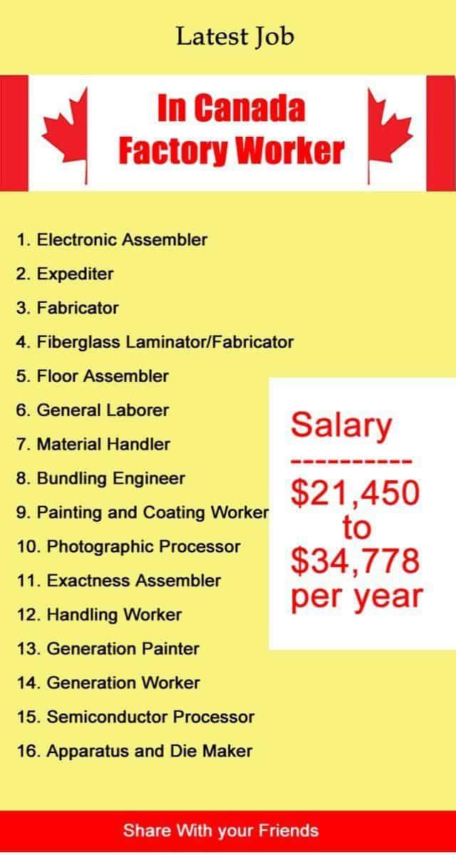 Job Hiring In Canada Factory Worker